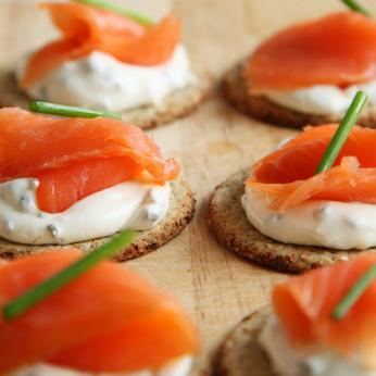 Canapes with cream cheese and smoked salmon