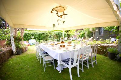 Marquee Interior with table set with food catering